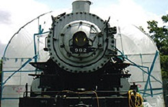 Southern Pacific 982 moved from Houston City Zoo to Minute Maid Park