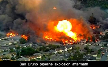San Bruno Pipeline Explosion Aftermath.